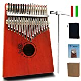 MOTYYA Kalimba 17 Key Thumb piano, Mbira 17 Tone Finger Piano Portable Musical instrument Toys Solid Sapele Body with Tune Hammer/Bag (Sapele Flower Red)