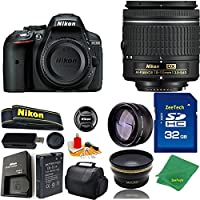 Great Value Bundle for D5300 DSLR – 18-55mm AF-P + 32GB Memory + Wide Angle + Telephoto Lens + Case