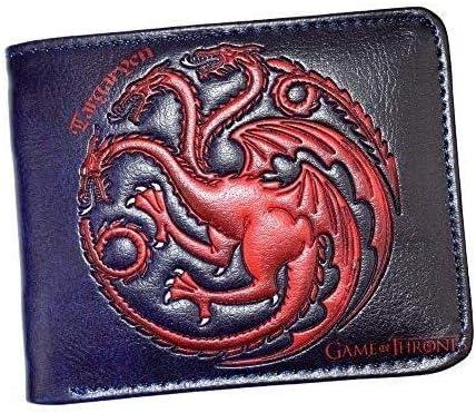 Billetera Family Logo Wallet Paquete Personalizado de Tarjeta de Billetera Bordada for Estudiantes, Billetera Corta de Cuero con Hielo y Fuego Song (Color : Red, Size : 115x93mm)