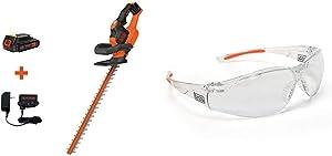 BLACK+DECKER 20V MAX Cordless Hedge Trimmer, 22-Inch with Safety Eyewear, Lightweight, Clear Lens (LHT321FF & BD250-1C)