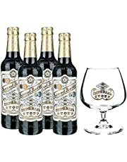 4 pack de cervezas inglesas Samuel Smith Imperial Stout + Copa