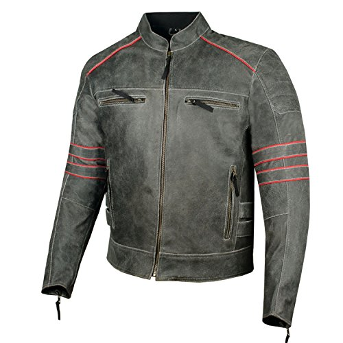 assic Leather Motorcycle Distressed Armor Biker Jacket XL ()