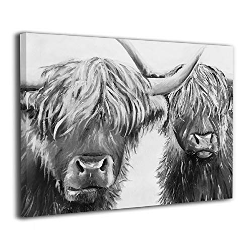 Arnold Glenn Black and White Highland Cow Canvas Wall Art Prints Picture Modern Paintings Decorative Giclee Artwork Wall Decor Wood Frame Gallery Wrapped