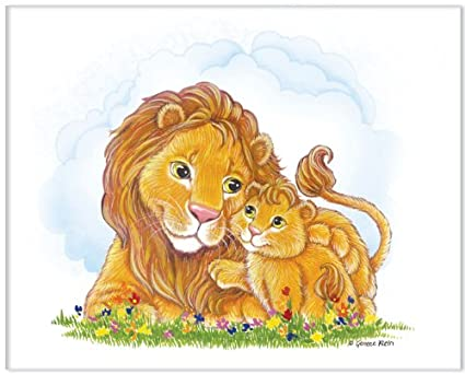 Amazon.com: Jungle Art Collection - Lions - Childrens Wall Art, 14 ...