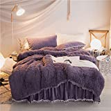 HomeDeluxe Fluffy Bedding Sets Velvet Flannel 3PCS Duvet Cover Sets (1PCS Duvet Cover, 2PCS Pillow Shams with Little Ball Edge), Solid Color, Without Inside Filling, Zipper Closure (Purple, Queen)