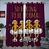 longbuyer AnimalBlackout DrapesFunny Ballerina Dancing Monkeys with So Boring to Be Normal Quote PrintDarkening Blackout Curtain W96 x L96 Maroon and Marigold