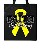 Inktastic - Yellow Ribbon Faith Keeps Me Going Tote Bag Black