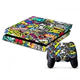 MightyStickers Protective Vinyl Skin Decal Cover for Sony PlayStation 4 PS4 Console & Remote DualShock 4 Controller Sticker Skins - Graffiti Art Stickers