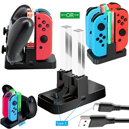 WHITEOAK Switch Pro Controller Charger for Nintendo Switch Joy-Con Charging Dock Station Stand with LED Indicator,[Upgrade Version] with Free Type C Cable