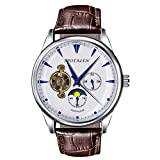 Mechanical Watches for Men Skeleton Classic White Dial Genuine Leather Band Wrist Watch Automatic Hand-Wind Watch