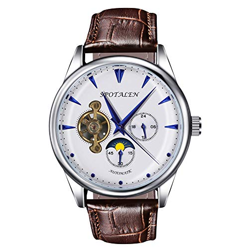Mechanical Watches for Men Skeleton Classic White Dial Genuine Leather Band Wrist Watch Automatic Hand-Wind Watch ()