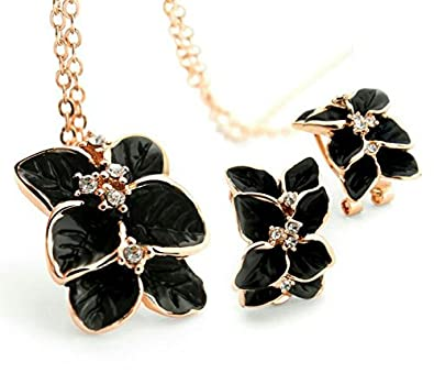 Buy youbella jewellery enamel and gold plated pendant necklace set buy youbella jewellery enamel and gold plated pendant necklace set with earrings for girls and women black online at low prices in india amazon mozeypictures Images