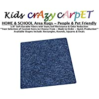 Square 4x4 - Super Hero Blue ~ Kids Crazy Carpet Home & School Area Rugs | People & Pet Friendly – R2X Stain Resistance & Odor Reduction