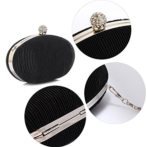 New Hardcase Ladies Black Handbag Look Box Evening Designer Luxury Bag Design 1 Women Clutch Pleated Design ZEIqxE0wH
