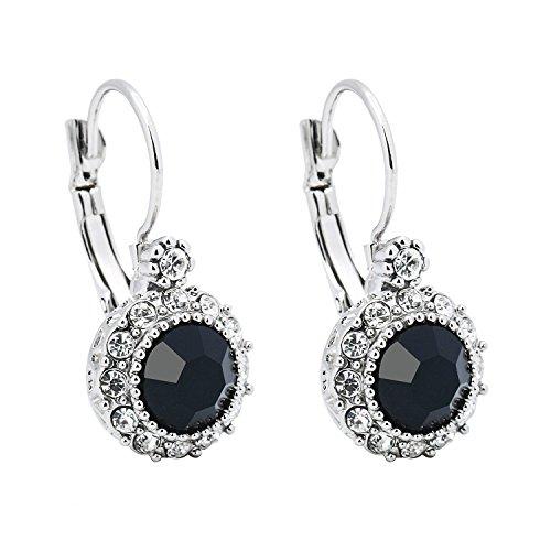 SheLian White Gold Tone Round Rhinestone Leverback Dangle Earrings for Women (Black)