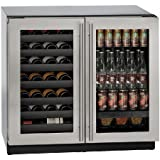 U-Line U3036BVWCS00B 36'' Built-in Beverage Center and Wine Storage, Stainless Steel
