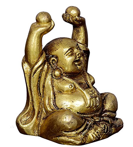 - shivshakti global store Vintage Laughing Buddha Statue in Solid Brass Metal: Harbinger of Wisdom and Wealth - Use as Home Decor Showpiece for Feng-Shui, Golden Finish