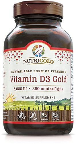Nutrigold Vitamin D3 5000 IU, 360 Mini Softgels (GMO-free, Preservative-free, Soy-free, USP Grade Natural Vitamin D in Organic Olive Oil) - 5000 Iu 360 Softgels