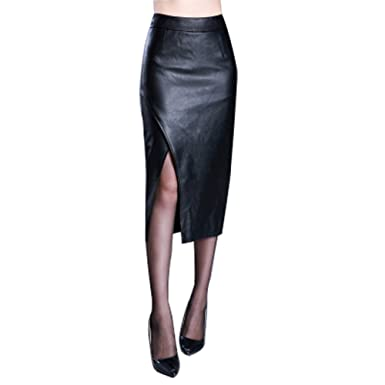 c781d727754d CoutureBridal Black Faux Leather Pencil Long Skirt Slit Side Zip ...