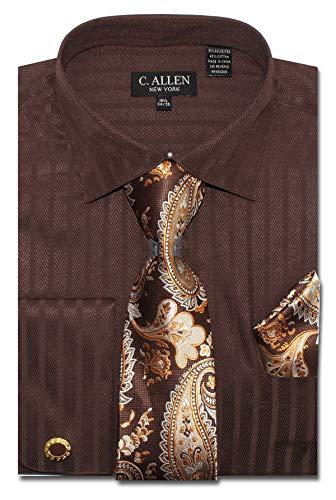 Men's Solid Striped Herringbone Pattern Regular Fit Dress Shirts with Tie/Hanky Cufflinks Combo (Brown, 17.5