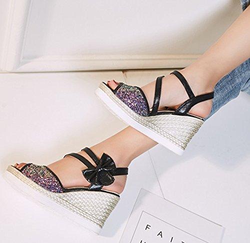 Aisun Femmes Paillettes Paillettes Crochet Et Boucle Strappy Habillé Peep Toe Wedge Talon Haut Plateforme Sandales Avec Arc Noir