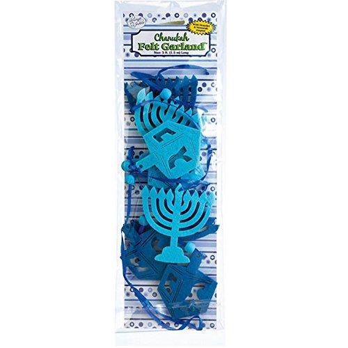 Chanukah Felt Garland with Menorahs and Dreidels - Jewish Hanukkah Chanukkah -