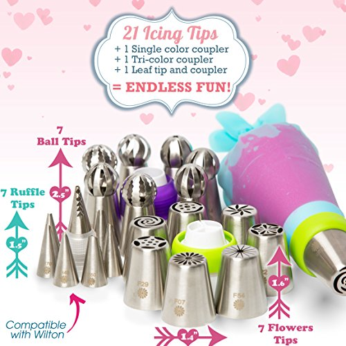 (69pc) Quick'nEasy Cake Decorating Supplies Kit - 3in1 Russian Piping Tips Set, Icing Bags, User Guide, Cupcake Wrappers In Cute Gft Box. Perfect for Making Flower Frosting | Baking Memories Together by Cakes of Eden (Image #7)