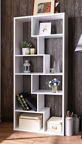 Major-Q 9092356 Modern White Finish Wooden Bookshelf with 6 Shelves and 8 Staggered Cubes White Finish Trundle
