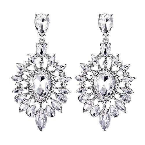 BriLove Womens Fashion Trendy Crystal Teardrop Halo Chandelier Dangle Earrings