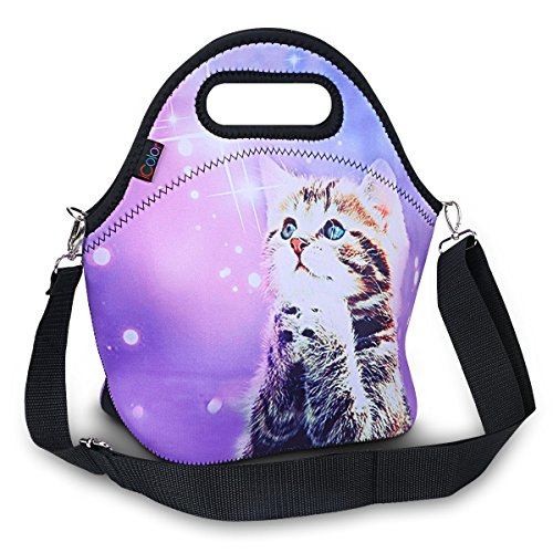 iColor Insulated Neoprene Large Lunch Bag - Removable Shoulder Strap - Reusable Thermal Thick Lunch Tote Bags For Women,Teens,Girls,Kids,Baby,Adults-Lunch Boxes For Outdoors,Work,Office,School(Cat)