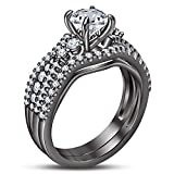 TVS-JEWELS Wedding Ring Set For Women's / Girl Attractive Round Cut Sim. Diamond Black Rhodium Plated (6)
