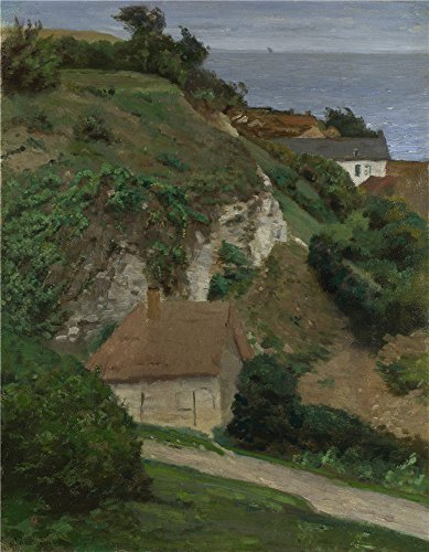 Oil Painting 'Antoine Chintreuil House On The Cliffs Near Fcamp ' Printing On Perfect Effect Canvas , 8 X 10 Inch / 20 X 26 Cm ,the Best Laundry Room Decoration And Home Artwork And Gifts Is This Cheap But Art Decorative Art Decorative Prints On Canvas ()