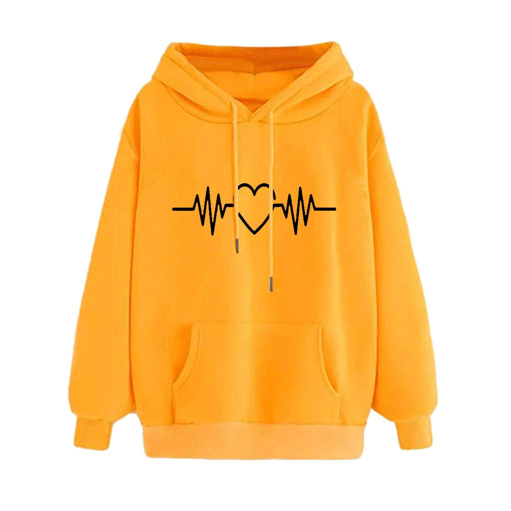 Malbaba Women's Sweatshirts Beating Heart Print Long Sleeve Pullovers Shirt Top Yellow by Malbaba