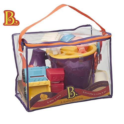 B. toys - B. Ready Beach Bag - Beach Tote with Mesh Panel and 11 Funky Sand Toys - Phthalates and BPA Free - 18 m+ (Monster Truck Fr Games)