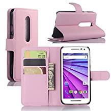 Fettion Motorola Moto G (3rd Generation) Case, Premium Leather Wallet Case Cover with Stand Card Holder for Motorola Moto G G3 (3rd Gen, 2015) Phone (Wallet - Pink)