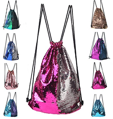 Drawstring Gym Sport Sack Bag, Mermaid Sequin String Backpack Large Lightweight Gym Sackpack for Men and Women Red (Personalized Gifts For Girls)