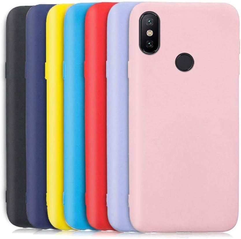 Meeter 7 x Funda para Xiaomi Mi A2 Lite, Carcasa Suave Mate en Silicona TPU, Soft Silicone Case Cover [ Negro + Rojo + Azul Oscuro + Rosa + Lavanda + Amarillo + Azul Cielo ]