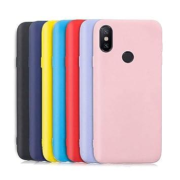 Meeter 7 x Funda para Xiaomi Mi A2 / 6X, Ultra Fina Carcasa Silicona TPU de Alta Resistencia y Flexibilidad (Negro + Rojo + Azul Oscuro + Rosa + ...