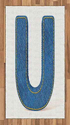 Cheap  Ambesonne Letter U Area Rug, Denim Letter Alphabet Design with Realistic Looking..