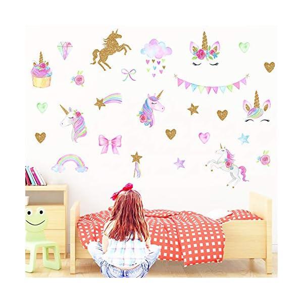 [2 PCS] Unicorn Wall Decals, Romantic Unicorn Wall Stickers Girls Bedroom, Unicorn Wall Stickers Decorations, Wall Decor with Clouds 5