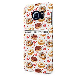 Donut Touch My Phone Pixel Bubble Donuts Pattern Tumblr Print Hard Plastic Samsung Galaxy S6 Edge Phone Case Cover