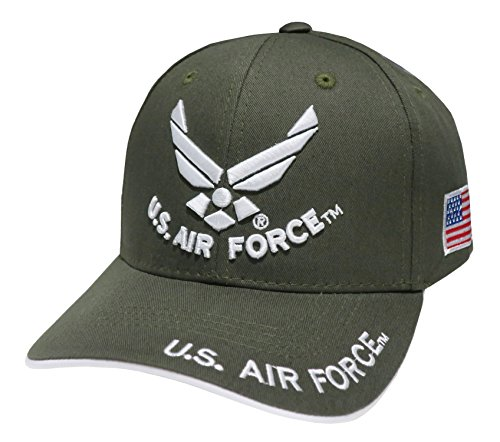 US Fuerzas Armadas Militar de bordado gorra de béisbol Wing & Us Air Force Text Olive