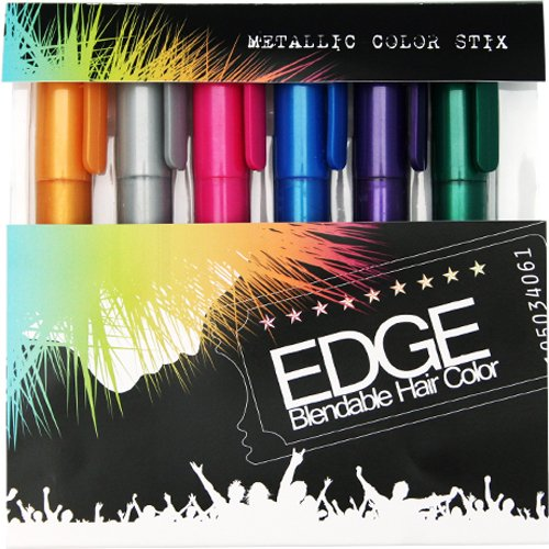 Hair Chalk | Metallic Glitter Temporary Hair Color - Edge Chalkers - Lasts up to 3 Days, No Mess, Built in Sealant, 80 Applications Per Stick, Works on All Hair (Temporary Hair Color Spray)