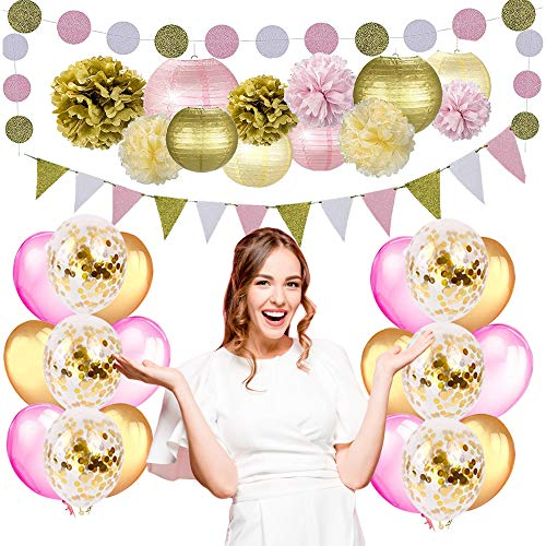Party Decorations for Girls Women by Nextin, Pink Gold Party Decorations Includes Pom Poms, Lanterns, Glitter Garlands, Balloons, Bachelorette Party Decorations (Gold & Pink Party Decoration).
