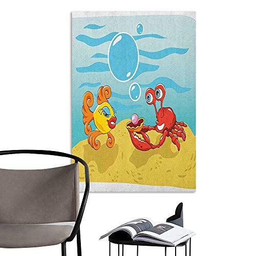 Decals for Home Room Decoration Engagement Party Under The Sea Cartoon Fish and Crab with Sand Pearl Proposing Yellow Red and Blue School Dormitory Classroom W16 x H20
