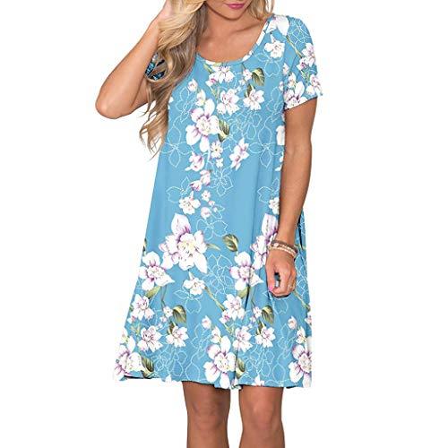 (Women Short Sleeve Dress Floral Printed Pockets Sundress Casual Swing Dress)