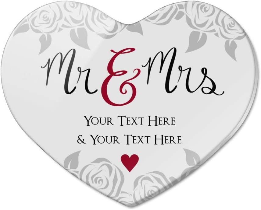 Personalized Custom 2 Lines Mr and Mrs Wedding Heart Acrylic Fridge Refrigerator Magnet