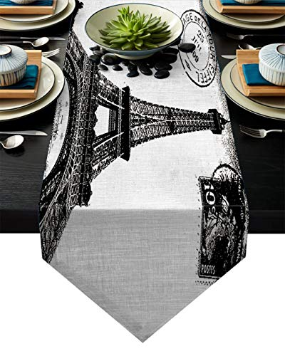 Linen Burlap Table Runner Dresser Scarves, Vintage Paris Eiffel Tower Stamp Kitchen Table Runners for Dinner Holiday Parties, Wedding, Events, Decor - 18 x 72 Inch