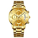 OLMECA Men's Watches Luxury Sports Business Casual Quartz Wristwatches Waterproof Chronograph Calendar Date Stainless Steel Band Gold Color
