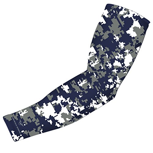 Lightweight Adult Football (Moisture Wicking Sports Compression Arm Sleeve - Youth & Adult Sizes - Baseball Football Basketball (Navy Blue - Gray White Digital Camo, YM) by Bucwild)